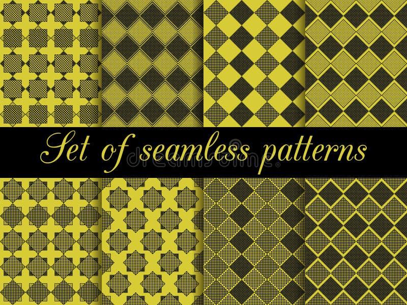 与小点和条纹的无缝的方格的样式 向量例证