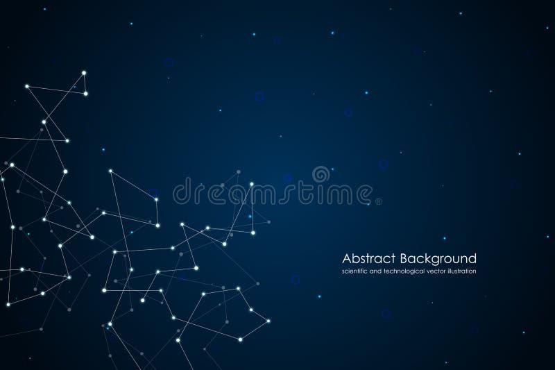 与小点和线的抽象未来派背景,分子微粒和原子,多角形线性数字式纹理 库存例证