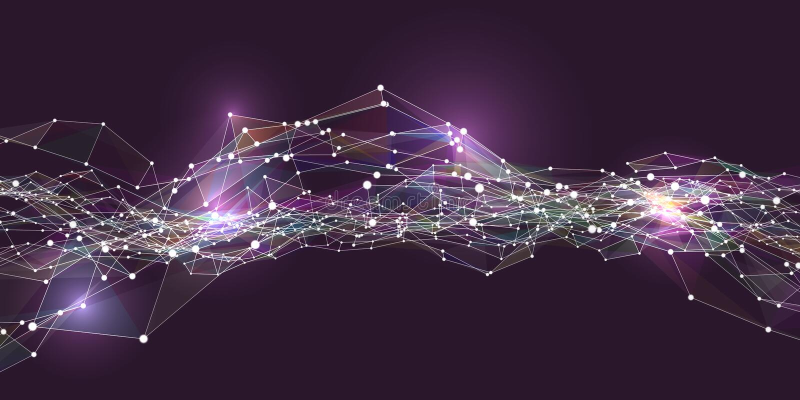 与小点和线的摘要未来派数字风景 几何数字连接微粒结构 皇族释放例证