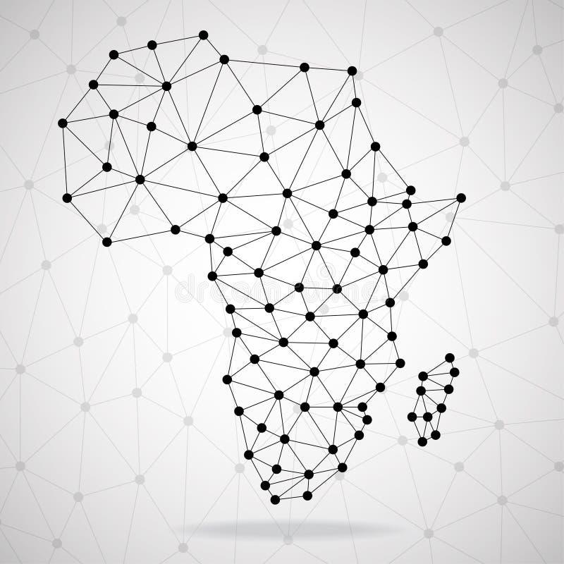 与小点和线,网络连接的抽象多角形非洲地图 皇族释放例证
