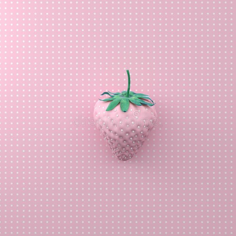 与小点白色的草莓在点样式桃红色背景 微型 图库摄影