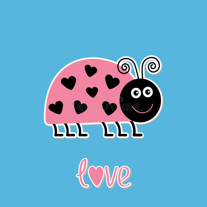 与小点的逗人喜爱的动画片鸡尾酒臭虫在心脏形状。爱汽车 皇族释放例证