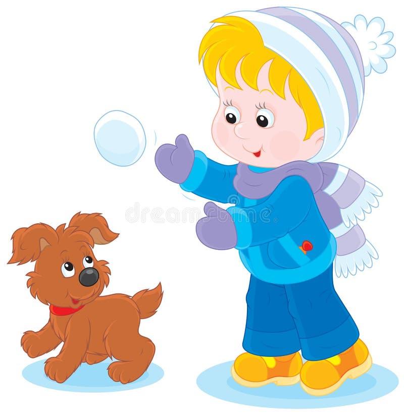 与小狗的儿童游戏 库存例证