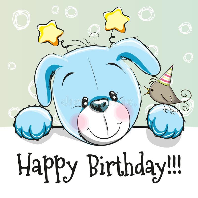 与小狗的生日贺卡 库存例证
