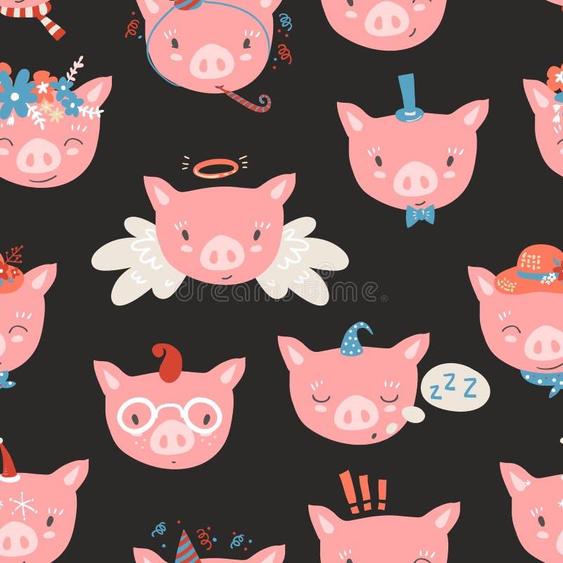 与小猪面孔的传染媒介无缝的样式 Emoji 睡觉,ange 向量例证