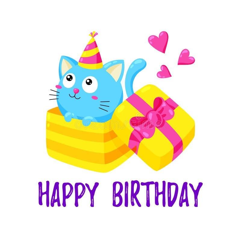 与小猫的逗人喜爱的动画片卡片 猫看在礼物盒外面 愉快生日的问候 皇族释放例证