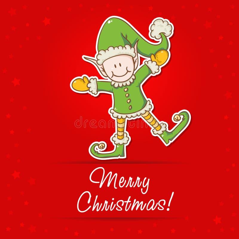 与小的矮子圣诞老人辅助工的圣诞卡 皇族释放例证