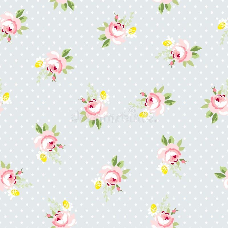 与小的英国兰开斯特家族族徽的无缝的花卉样式 皇族释放例证