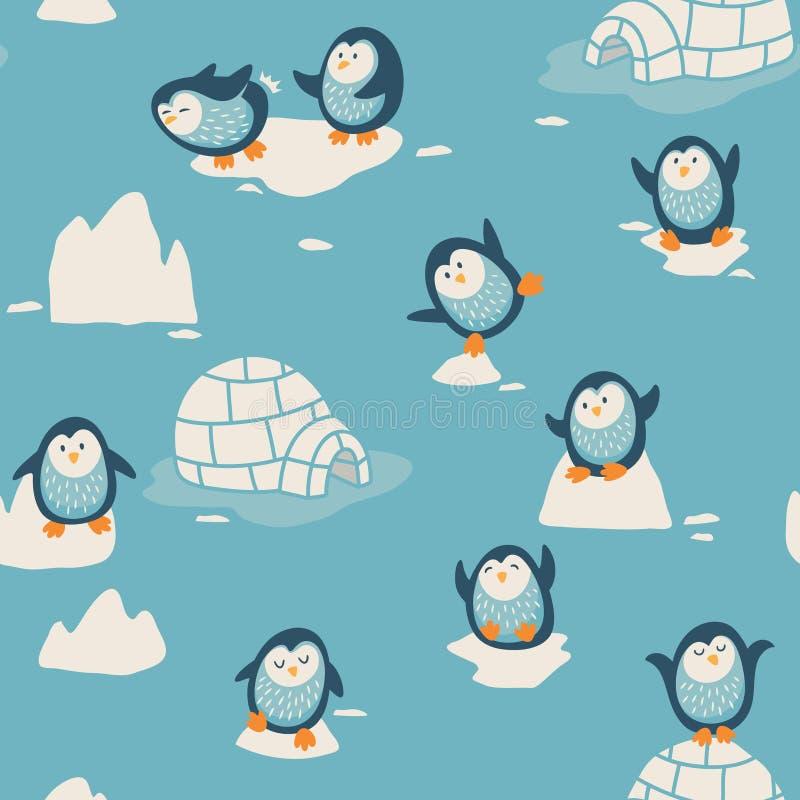 与小的逗人喜爱的企鹅的无缝的样式 库存例证