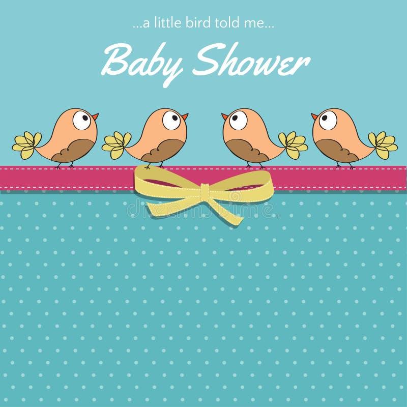 与小的鸟的精美婴儿送礼会卡片 库存例证