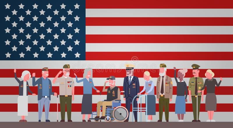 与小组的退伍军人日庆祝全国美国假日横幅在美国旗子背景的退休的军事人 库存例证