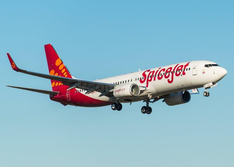 与小翅膀的Spicejet波音737-800 库存照片