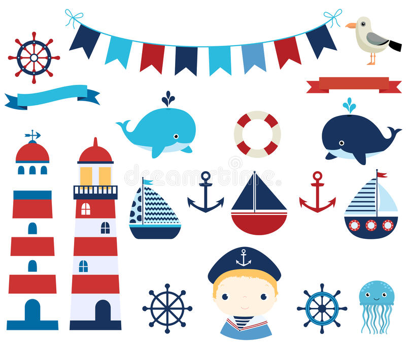 与小船、舵和灯塔的船舶集合 向量例证