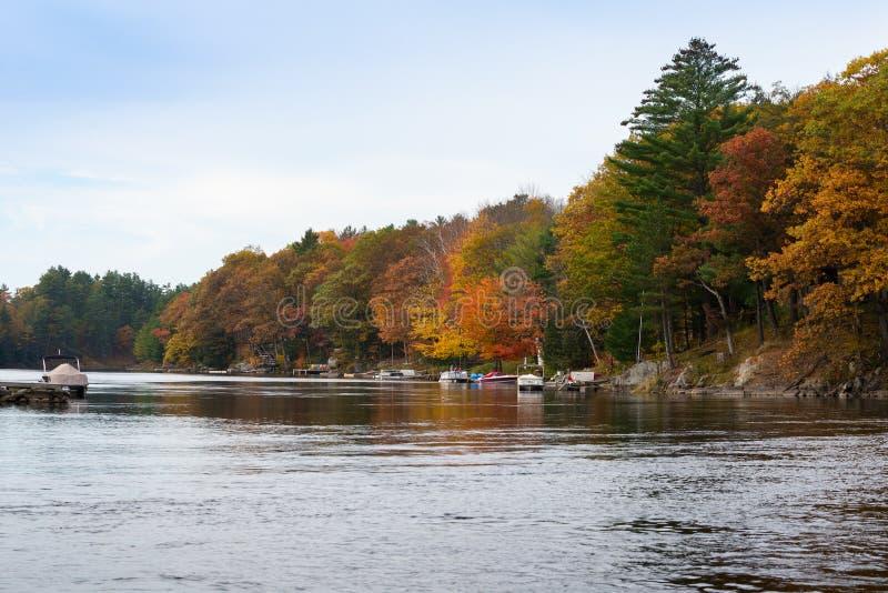 与小船和五颜六色的树的秋天场面 图库摄影