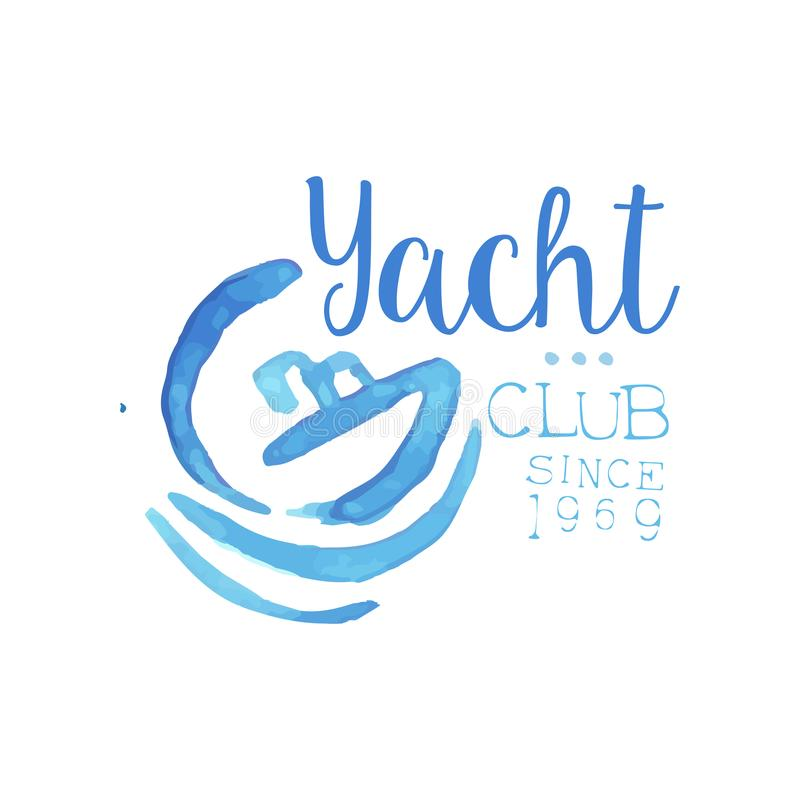 与小船和波浪剪影的水彩绘画  游艇俱乐部的原始的蓝色象征 海洋旅行的概念和 向量例证