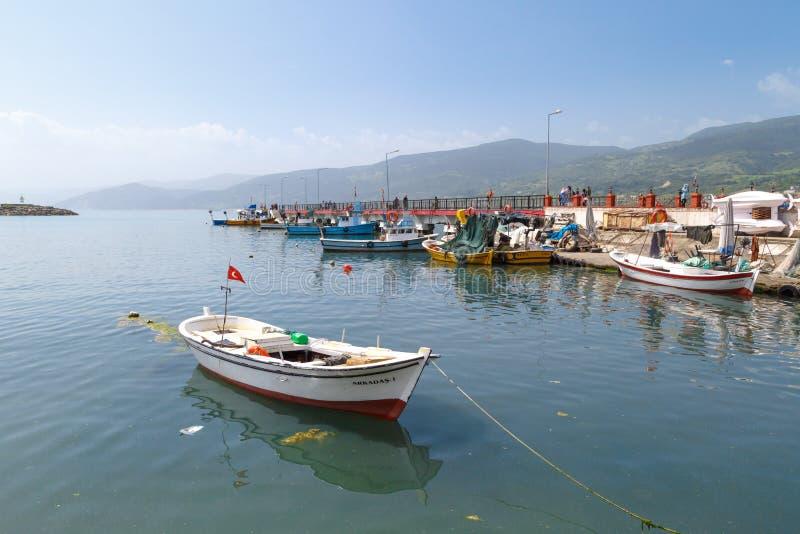 与小船的捕鱼港口 库存图片