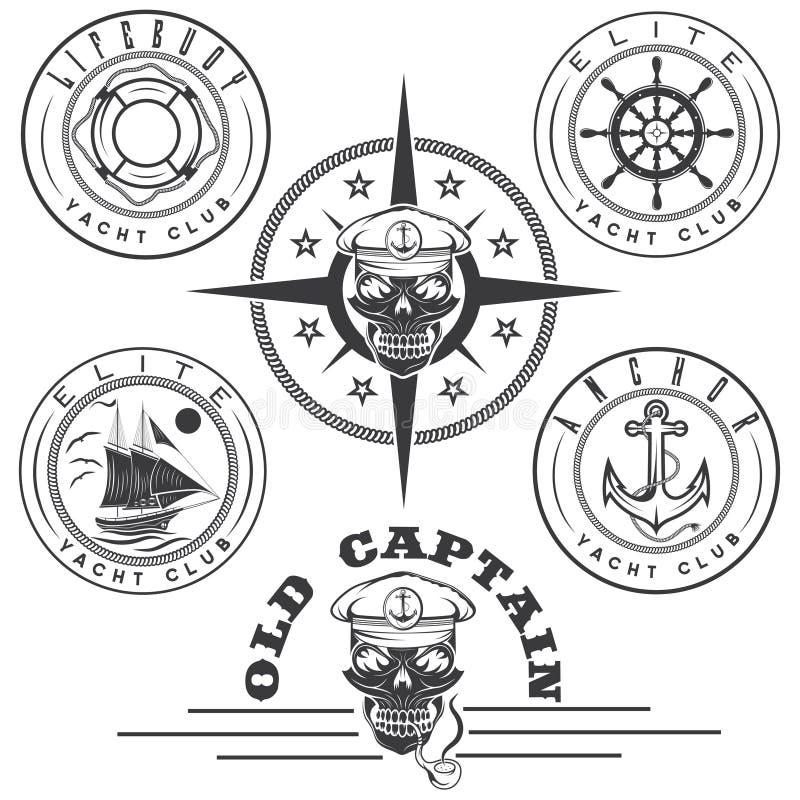 与小船,上尉头骨,轮子,船锚的标签和 皇族释放例证