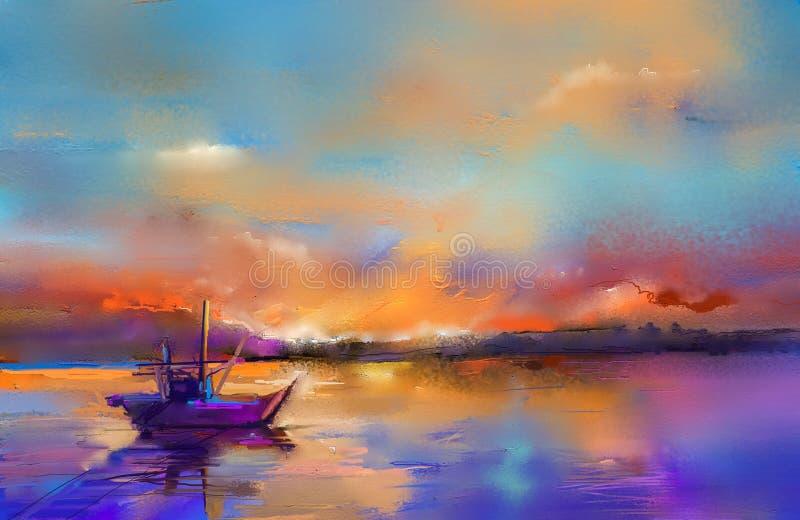 与小船,在海的风帆的油画海景 库存例证