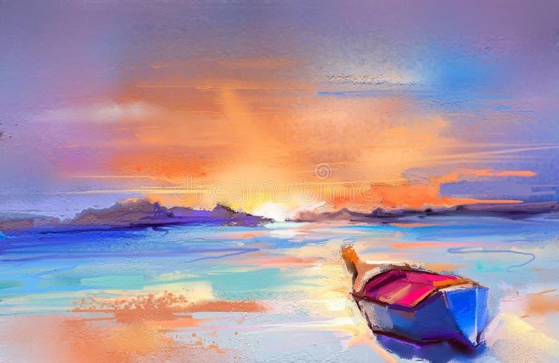 与小船,在海的风帆的油画海景 皇族释放例证