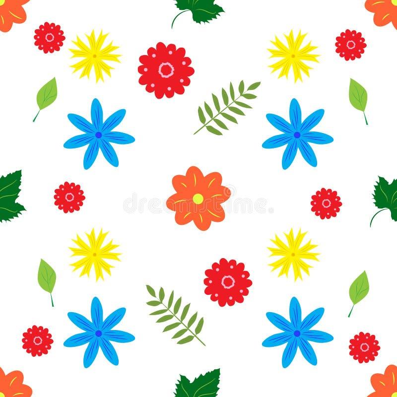 与小花和叶子的无缝的背景在白色 向量例证