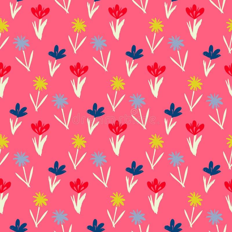 与小花的无缝的花卉样式 库存例证