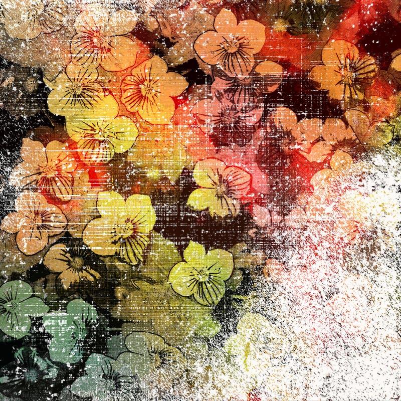 与小花的花卉五颜六色的背景在难看的东西镶边和被弄脏的背景 皇族释放例证