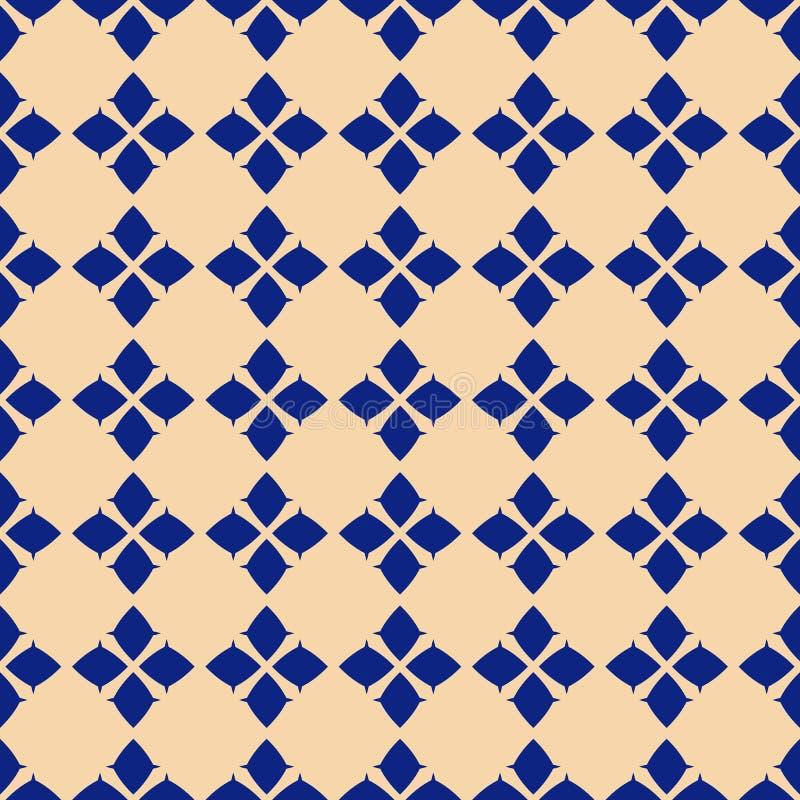 与小菱形,花剪影的传染媒介几何无缝的样式 向量例证