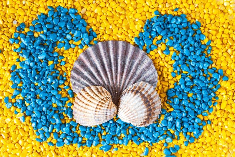 与小蓝色和黄色小卵石和壳的装饰背景 库存照片