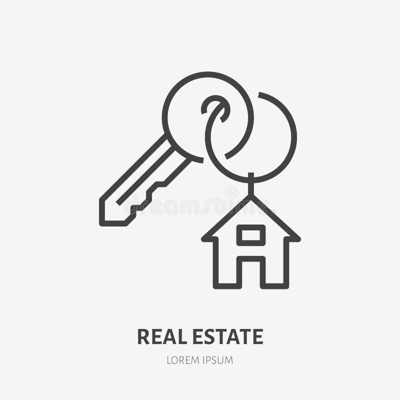 与小装饰品房子的钥匙圆环平的线的象 小装饰品的传染媒介稀薄的标志,公寓房租商标 房地产例证 向量例证