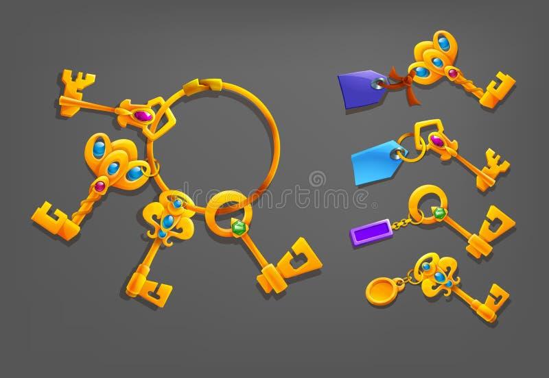 与小装饰品的金黄动画片钥匙 皇族释放例证