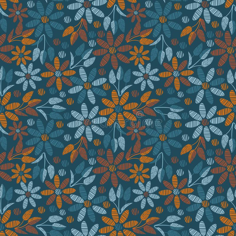 与小野鸭和橙色花卉无缝的传染媒介样式 向量例证