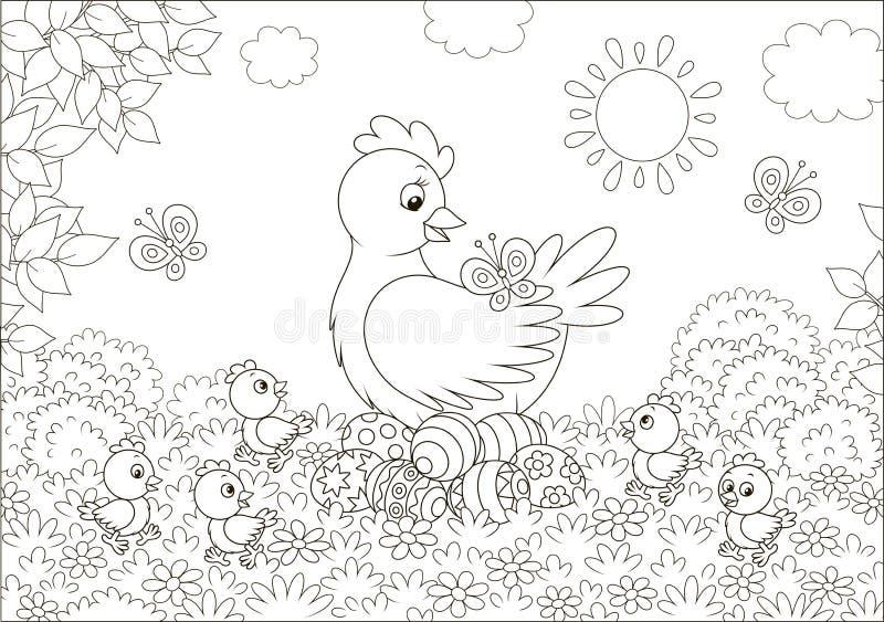 与小鸡和复活节彩蛋的母鸡 库存例证