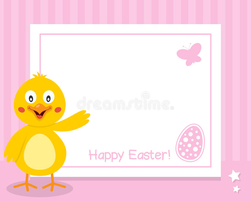 与小鸡的愉快的复活节水平的框架 向量例证