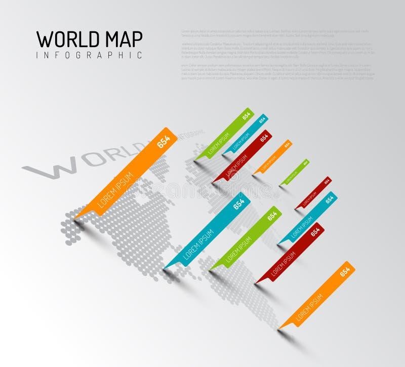 与小滴尖标记的轻的世界地图 库存例证