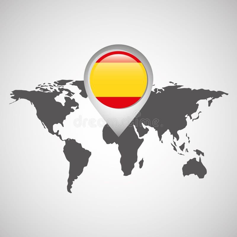 与尖旗子西班牙的世界地图 库存例证