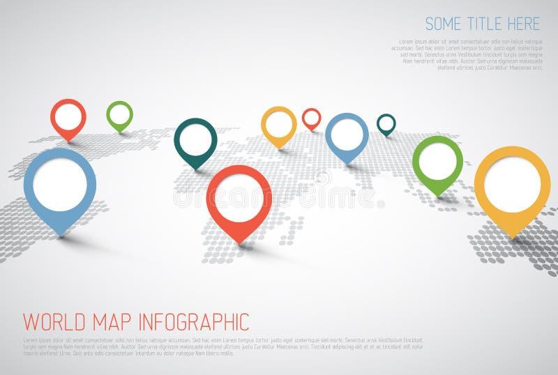 与尖标记的世界地图 库存例证