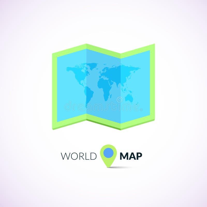与尖的世界地图商标 皇族释放例证
