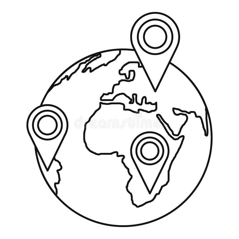 与尖的地球地球指示象,概述样式 向量例证