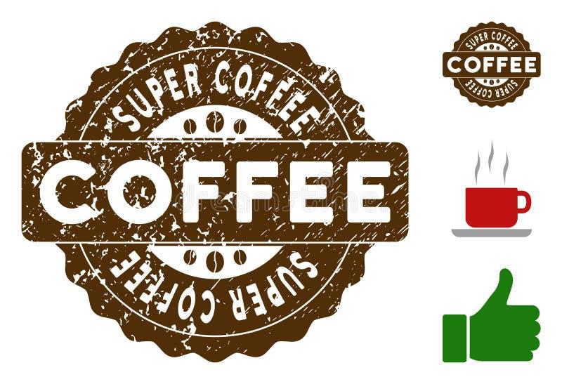 与尘土作用的超级咖啡奖邮票 向量例证