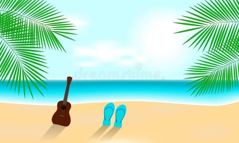 与尤克里里琴的晴朗的暑假海滩 向量例证