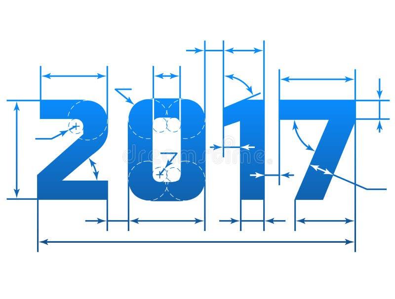 与尺寸线的新年2017数字 向量例证