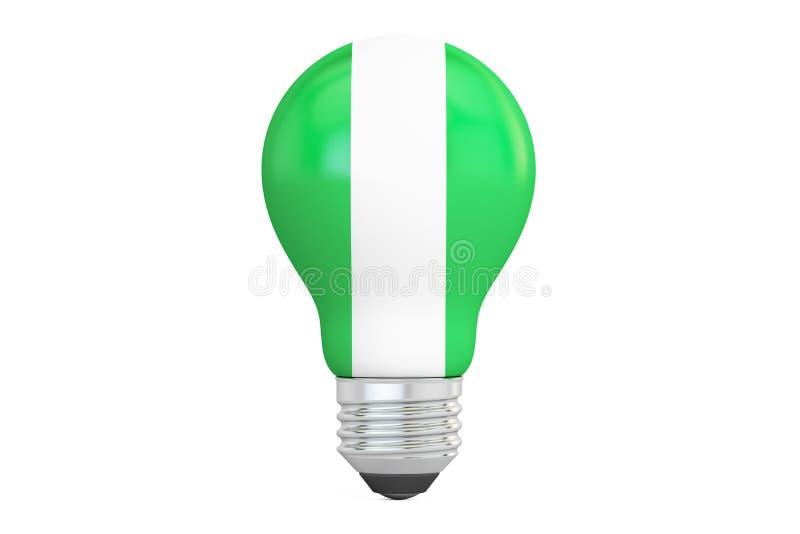 与尼日利亚旗子, 3D的电灯泡翻译 向量例证