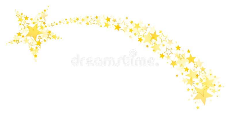 与尾巴的流星在大和小的星金子外面 皇族释放例证