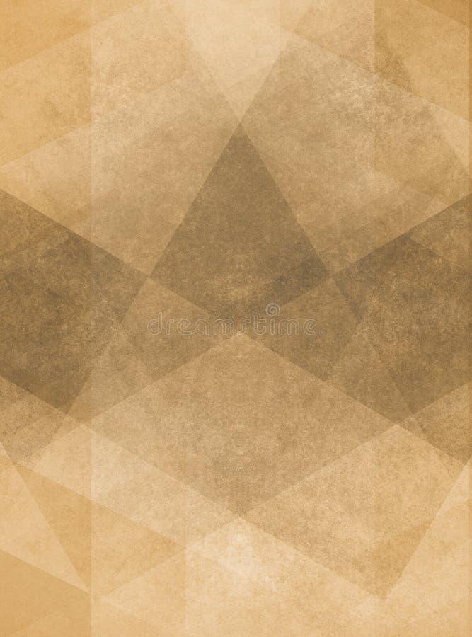 与层状几何设计的退色的葡萄酒褐色背景例证 皇族释放例证