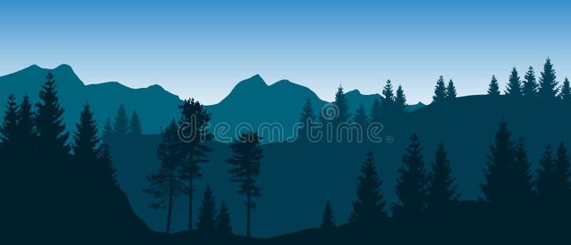与层状树木丛生的山的美好的蓝色传染媒介风景 库存例证