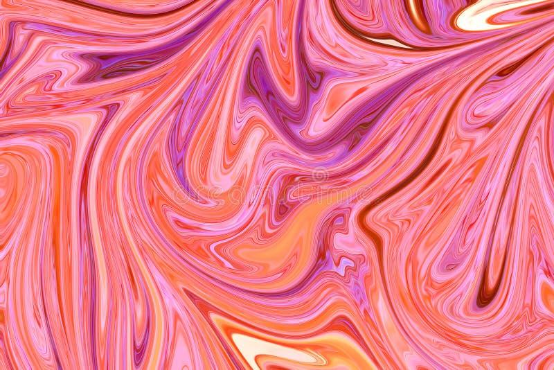 与居住的珊瑚,桃红色,黄色和紫罗兰色颜色艺术形式的液体抽象大理石样式 E 向量例证
