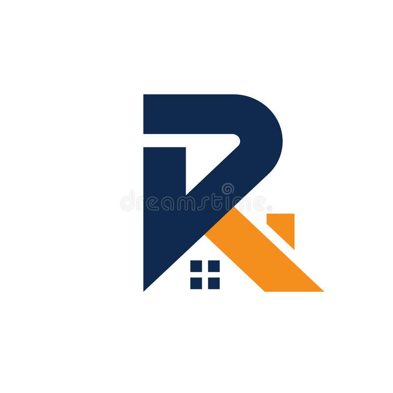 与屋顶样式的信件R 房地产商标概念 向量例证