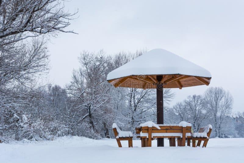 与屋顶的长凳以用雪盖的蘑菇的形式在寒冷冬天天 免版税库存图片