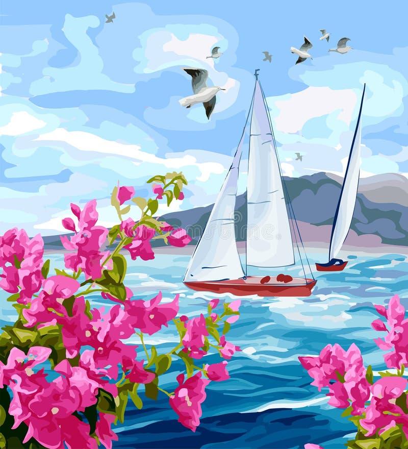 与山、游艇和花的海景 向量例证