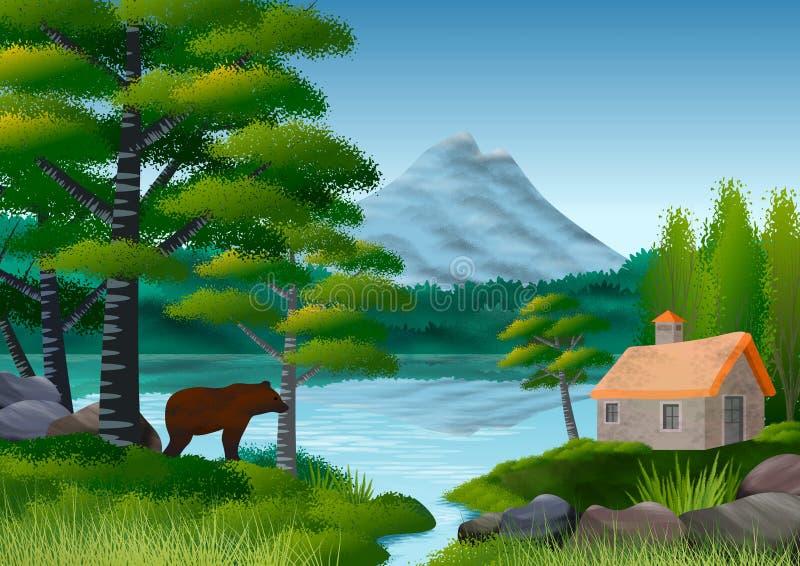 与山、湖和叶茂盛树的自然风景在前景 在剪影的仍然一头熊 向量例证